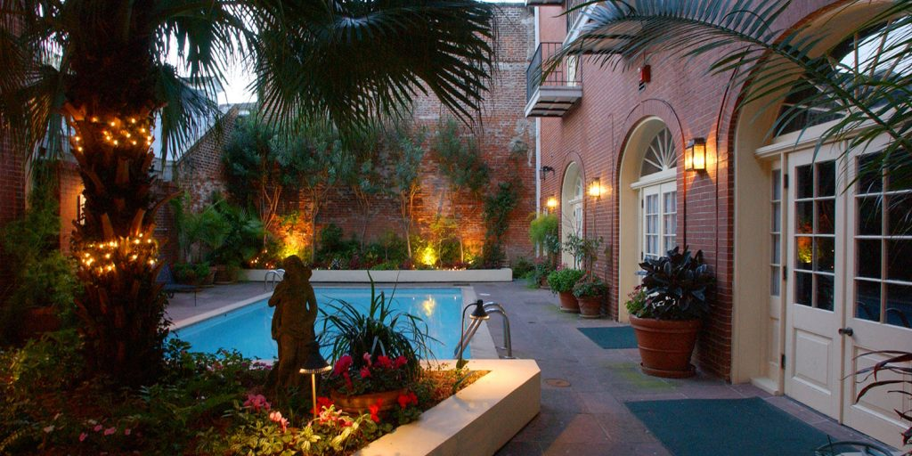 Lush courtyards at Hotel St. Marie